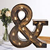 Oycbuzo Golden Black Led Marquee Letter - Industrial, Vintage Style Light Up Alphabet Letter Sign for Cafe Wedding Birthday P