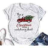 This is My Christmas Movie Watching Tshirt Tees for Women Vintage Truck Plaid Christmas Tree Graphic Holiday Xmas Tee