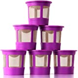 6 Reusable K Cups for Keurig - Universal Fit 1.0 & 2.0 Keurig Coffee Makers - 6 Purple Refillable Kcups Coffee Filters for al