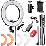 Neewer 12-inch Inner/14-inch Outer LED Ring Light and Light Stand 36W 5500K Lighting Kit with Soft Tube,Color Filter,Hot Shoe