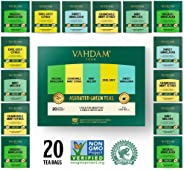 VAHDAM, Green Tea Sampler, 5 TEAS - Tea Variety Pack | Assorted Green Tea Bags | Organic Green Tea, Mint, Earl Grey, Chamomi