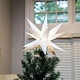 Elf Logic - Moravian Star Tree Topper - Beautiful Bright White 3D Lighted Christmas Star Tree Topper - Advent Star, Bethlehem