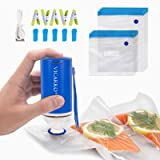 Sous Vide Bags BPA Free Reusable Food Vacuum Sealer Bags, with Rechargeable Vacuum Pump, for Food Storage, Space Saving and F