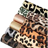 Caydo 10 Pieces Leopard Printed Faux Leather Sheets, Leopard Pattern Leather Fabric for Making Hair Bowsand Earrings, 6.3 x