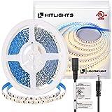 HitLights Warm White LED Light Strip Premium High Density 3528 - 16.4 Feet 600 LEDs 3000K 164 Lumens per Foot. UL-Listed. 12V
