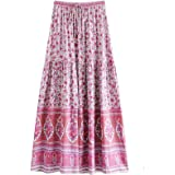 Symunnia Summer Women's Casual A-Line Floral Print Elastic High Waist Ruffles Bohemian Midi Skirt