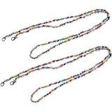 2Pcs Colorful Beaded Eyeglass Chain Fashion Eyeglass Bead Holder Strap Face Mask Lanyard Sunglasses Lanyard Eyeglass Necklace