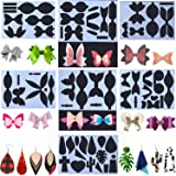 7 Sets Leather Earring Templates Bows Tie Making Template Earring Dies Template Cutting Stencil for Card Making DIY Bow Craft