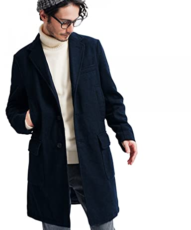 Flannel Wool Padded Chesterfield Coat 3225-139-2027: Navy