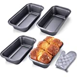 KITESSENSU Bread Pans for Baking, Nonstick Carbon Steel Loaf Pan, 10 x 5 Inch, Set of 4, Oven Mitt Included