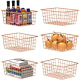 Wire Basket, F-color 6 Pack Metal Baskets for Storage Organizer for Pantry, Shelf, Freezer, Kitchen Cabinet, Bathroom, Small,