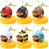Sumind 6 Pieces Rubber Yellow Duck Toy Car Bike Ornaments Yellow Duck Car Dashboard with Propeller Helmet Cool Sunglasses Dec
