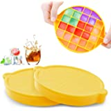Ice Cube Trays, SEEOOR Silicone Ice Cube Molds with Lid, Ice Trays for Freezer BPA Free Stackable Easy Release for Whiskey, C