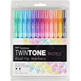 Tombow Twintone Marker Set, Bright, 12-Pack Dual-Tip Pastel