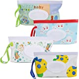 4 Pack Baby Wipes Container, Reusable Portable Wet Wipe Pouch,Wipe Dispenser Container,Baby Travel Wet Wipe Holder