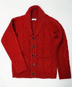Shawl Collar 3-gauge Aran Cardigan 116-45-0099: Red