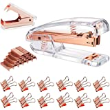 Rose Gold Stapler and Staple Remover Set - Rose Gold Office Supplies with 1000 Staples and 12 Binder Clips, Luxury Acrylic Ro