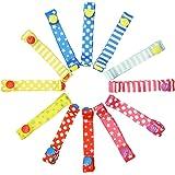 おもちゃホルダー ベビーカー用 赤ちゃんのおもちゃストラップ おしゃぶりホルダー マルチストラップ 落下防止紐 柔らか素材 2段階の長さ調節可能 不同柄6本組 - Type 2