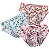 3 Pack Teens Cotton Menstrual Sanitary Protective Underwear Girls Lace Leakproof Period Panties