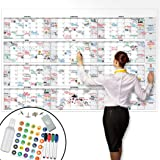 """Large Dry Erase Wall Calendar - 38"""" x 58"""" - Undated Blank 2020 Reusable Yearly Calendar - Giant Whiteboard Year Poster - Lami"""
