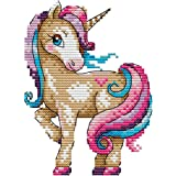 Cross Stitch Kits, Awesocrafts The Magical Unicorn Animals Easy Patterns Cross Stitching Embroidery Kit Supplies Christmas, S