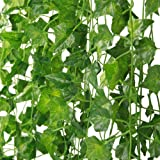 Artificial Ivy Garland, TERSELY 12 Strands (79 Feet) Artificial Ivy Garland Foliage Green Leaves Fake Hanging Vine Plant for
