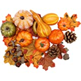 winemana Thanksgiving Artificial Pumpkins Home Decoration Set, Mixture of 50 Artificial Harvest Decoration, 30 Fake Maple Lea