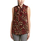ANNE KLEIN Women's Animal Print Tie Front Sleeveless Blouse, Titian RED/Tangier Combo