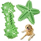 KIKIPAW Aggressive Chew Toys for Medium Dogs – Squeaky Dog Teeth Cleaning Toy Natural Durable Rubber Brushing Stick Dental Or