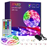 Led Strip Lights, JESLED 6M Led Lights With IR Remote Control,Led Lights Strip for bedroom TV Party Wedding ,Power supply
