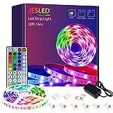 Led Strip Lights, JESLED 6M Led Lights with IR Remote Control,Led Lights Strip for Bedroom TV Party Wedding ,Power Supply