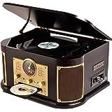 山善(YAMAZEN) キュリオム マルチレコードプレーヤー リモコン付き (CD/レコード/カセットテープ/AM FMラジオ/USB/SD) MRP-M100CR(DB)
