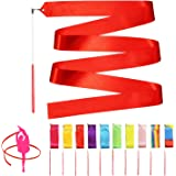 Novelty Place 10 Pieces Dance Ribbons Streamers - 6.6Ft Unisex Kids' Gymnastics Ribbon Wands - Perfect Rhythm Sticks for Tale