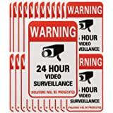 Tupalizy 24 Hours Video Camera Surveillance Sign Stickers Decals Self-Adhesive Home Business Alarm System Security Warning St