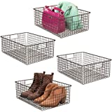 mDesign Large Farmhouse Metal Wire Storage Basket Bin Box with Handles for Organizing Closets, Shelves and Cabinets in Bedroo