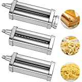 X Home Pasta Maker Attachment Compatible with Kitchenaid Stand Mixer, 3-Piece Pasta Roller and Cutter Set for Dough Sheet, Sp