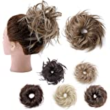 Hairro Tousled Updo Messy Bun Hair Pieces Curly Wavy Elastic Scrunchies #12H24 Light Brown & Ash Blonde Rubber Band Hairpiece