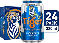 Tiger Lager Beer Can Carton, 24 x 320ml