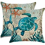 """7ColorRoom 2pack Sea Turtle Pillow Cases Ocean Theme Home Decorative Throw Pillow Covers 18""""×18""""Cushion Covers for Patio Sofa"""