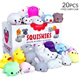 20 Squishy Toys Pack, Free CASE, 16 Animals, 11 Colors, AWEGLO Mochi Squishy Toys Party Favors for Kids, Mini Cat Squishies K