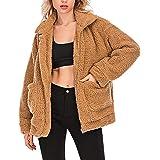 Tmore Women Faux Fur Cardigan Fashion Long Sleeve Fleece Jacket Casual Lapel Shearling Shaggy Coat