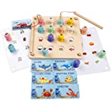 Wooden Magnetic Fishing Toy - Preschool Early Learning Montessori Educational Puzzle for Fine Motor Skill - Memory 3D Fish Bo