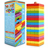 Homraku 木製バランスゲーム 立体パズル ボードゲーム 積み木ブロック ドミノブロック テーブルゲーム 子供も大人も老若男女楽しめる おもちゃ (6カラー, 54PCS)