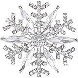 EVER FAITH Austrian Crystal Winter Art Deco Snowflake Flower Brooch Pin