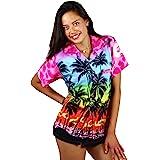 V.H.O Funky Hawaiian Shirt Blouse Women Short-Sleeve Front-Pocket Beach Palms Summer Babypink