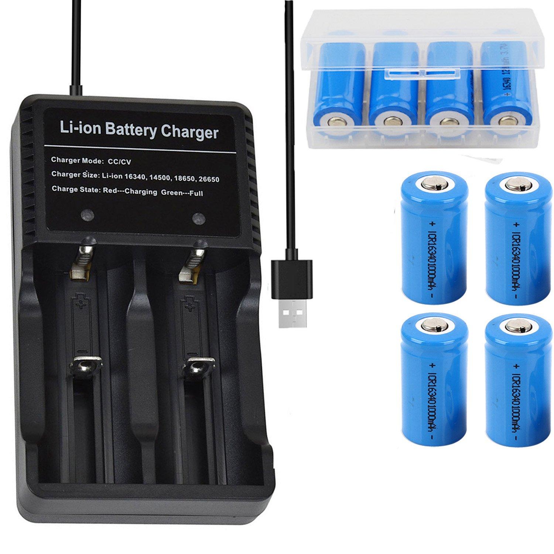 4本 16340 充電池 3.7V RCR123A 1000mAh リチウムイオン電池 GT USB多用途電池充電器 電池ケース 懐中電灯、ヘッドライト、カメラに適用