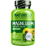 NATURELO Magnesium Glycinate Supplement - 200 mg Natural Glycinate Chelate with Organic Vegetables - Best for Sleep, Calm, An