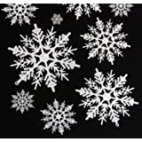 Hapy Shop 40 Pieces Plastic Snowflake Ornaments White Snowflake Christmas Decorative Hanging Ornaments for Decorating, Crafti