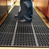 tonchean 35'' x 83''Anti-Fatigue Drainage Rubber Mat Non-Slip Bar Drainage Utility Floor Mat Heavy Duty Wet Area Doormat for
