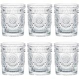 Kingrol 6 Pack 9.5 oz Romantic Water Glasses, Premium Drinking Glasses Tumblers, Vintage Glassware Setfor Juice, Beverages,